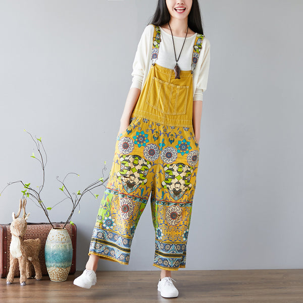 Women Floral Bib Jumpsuit Overall Jeans