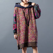Women Floral Hoody Split Drawstring Dress