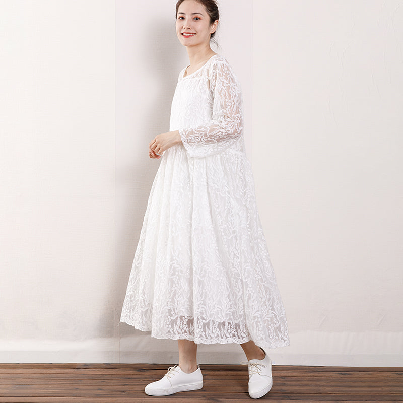 Women Floral Lace Wrist Sleeve Elegant Dress