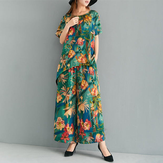 Women Floral Printed Elegant Two Piece Suit