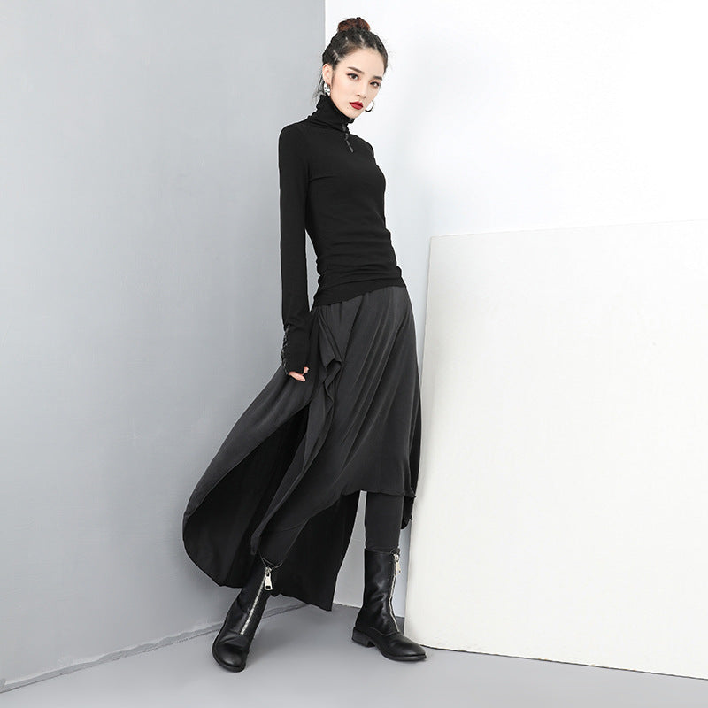 Plus Size - Women Gothic Fake Two Piece Skirt Pants