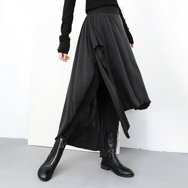 Women Gothic Fake Two Piece Skirt Pants