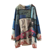 Women Knitted Cotton Printing Spring Sweater