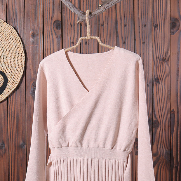 Women Lacing V Neck Long Sleeve Knitted Midi Dress