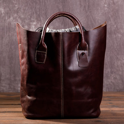 Women Large Capacity Cowhide Handbag Wine Red