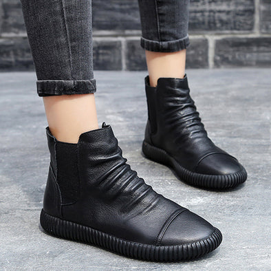 Women Leather Casual Chelsea Boots