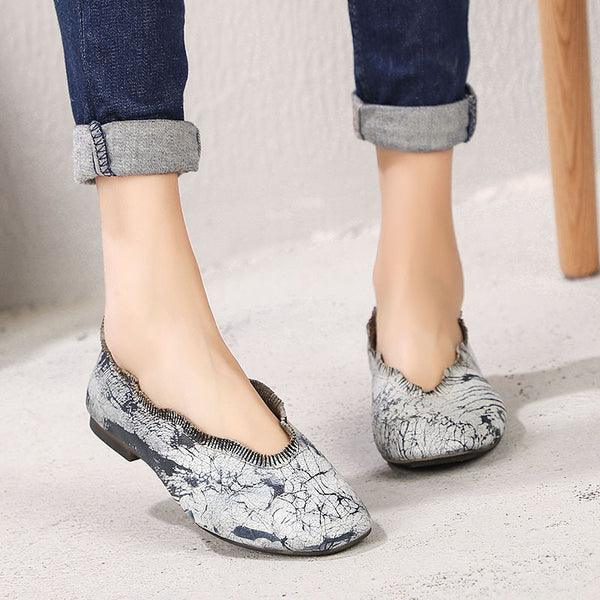Women Leather Shallow Soft Hand Make Shoes