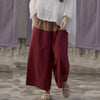 Women Linen Contrasting Color Spring Wide Leg Pants