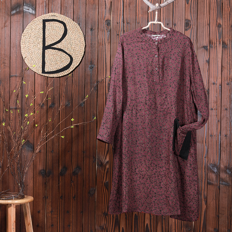 Women Linen Cotton Print Midi Dress