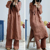 Women Literary Solid Split Spring Pullover Loose Dress