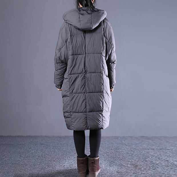 Women Long Zipper Solid Cotton Thick Coat