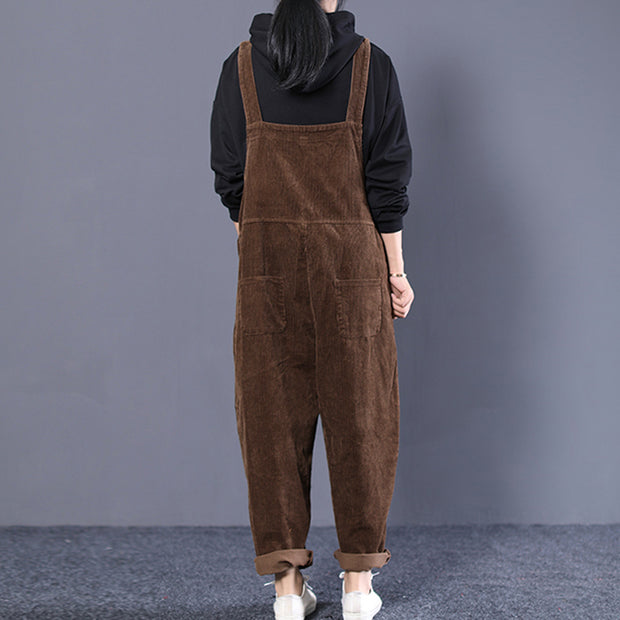 Women Loose Casual Pockets Corduroy Jumpsuit