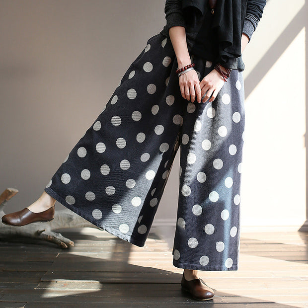 Women Loose Corduroy Dot Print Wide Leg Pants