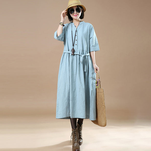 Women Loose Lacing Linen Cotton  V Neck Light Blue Dress