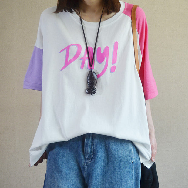Women Loose Letter Print Casual T-Shirt