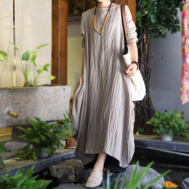 Women Loose Pleated Linen Maxi Dress