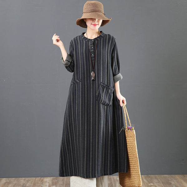 Women Loose Stripe Cotton Long Sleeve Dress