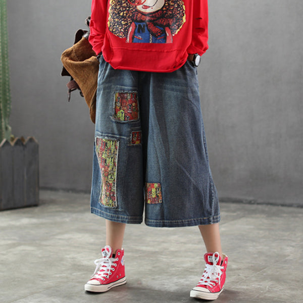 Women Patchwork Burr Spring Vintage Wide Leg Pants