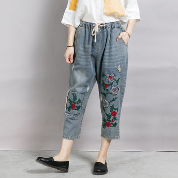 Women Patchwork Embroidered Plant Frayed Jeans