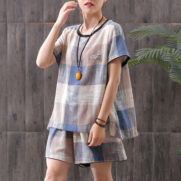 Women Plaid Casual T-Shirt And Shorts