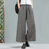 Women Plaid Cotton Linen Loose Spring Wide Leg Pants