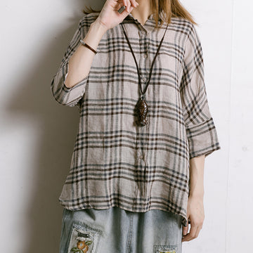 Women Plaid Irregular Hem Linen Shirt
