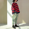 Women Plus Size Loose Bat Sleeve Striped Cotton Shirt