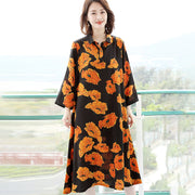 Women Polo Collar Floral Spring Loose Midi Dress