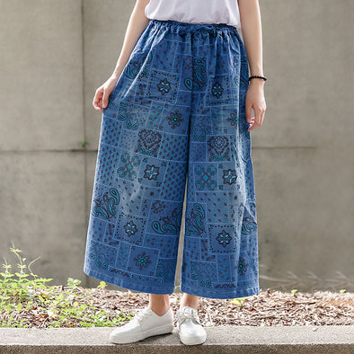 Women Print Wide Leg Pants Loose Casual Bottom