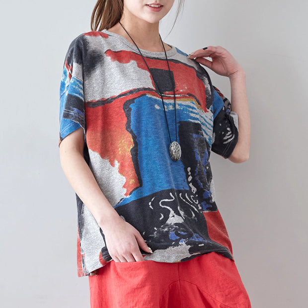 Women Printed Short Sleeve Loose Casual T-Shirt