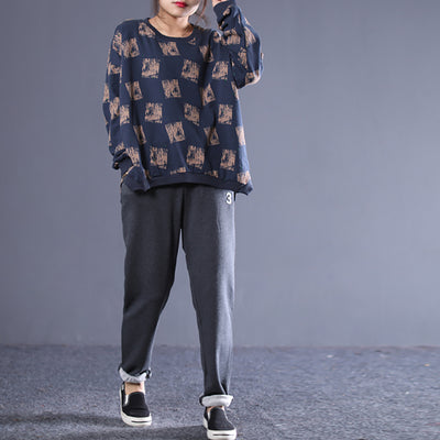 Women Printing Hollow O-neck Pullover Loose Sweatshirt