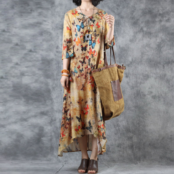 Women Ramie Print V-Neck Linen Bow Dress