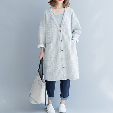 Women Ramie V-neck White Autumn Long Coat