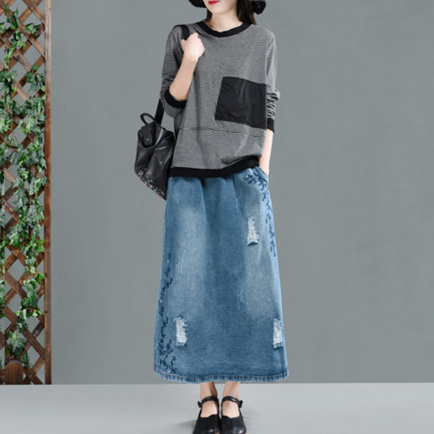 Women Replay Hole Embroidery Spring Denim Skirt