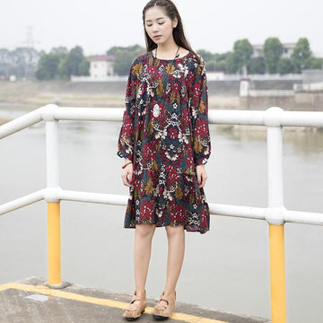 Women Retro Printing Cotton Flower Dress