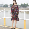 Retro Women Printed Cotton Long Sleeve Flower Dress