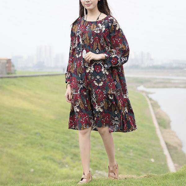 Retro Women Printed Cotton Long Sleeve Red Flower Dress