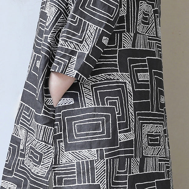 Women Retro Stand Collar Printed Black Dress