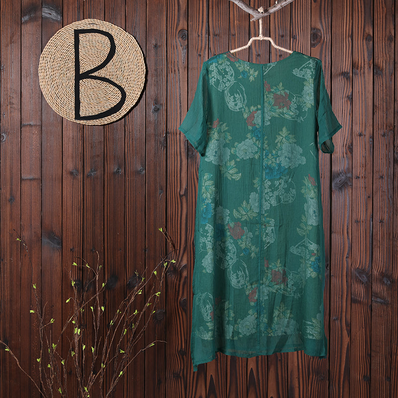 Women Round Neck Floral Casual Summer Loose Dress