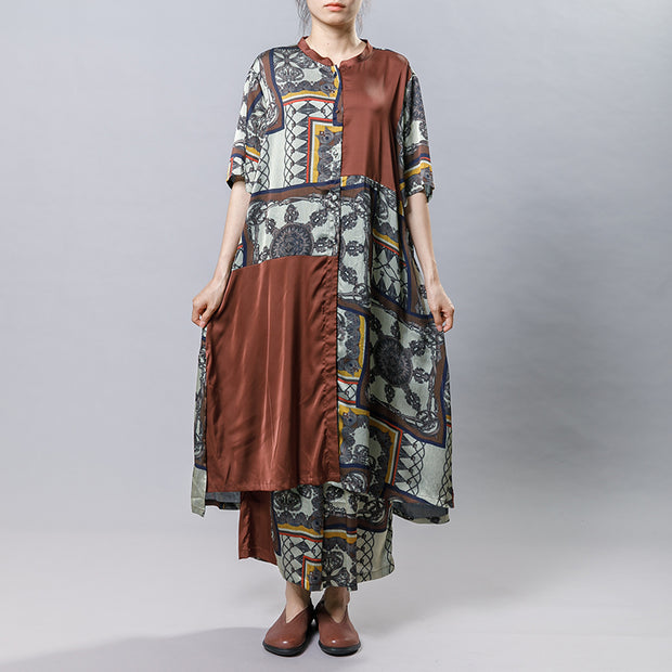 Women Silk Retro Printed Loose Two Piece Set