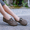 Women Simple Retro Shallow Flower Leather Single Shoes
