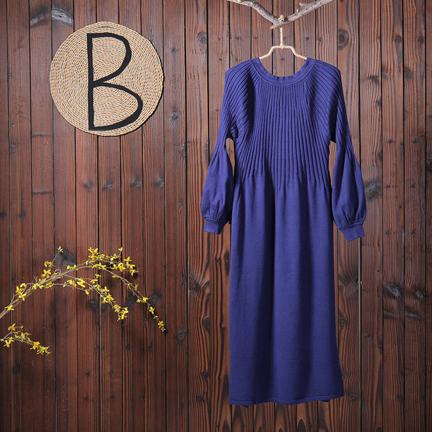 Women Slim Knit V-neck Fitting Sweater Dress