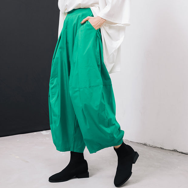 Women Solid Color Pleated Loose Bloomers