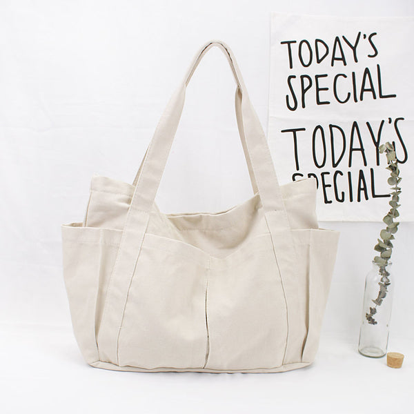 Women Solid Large Canvas Shoulder Bag