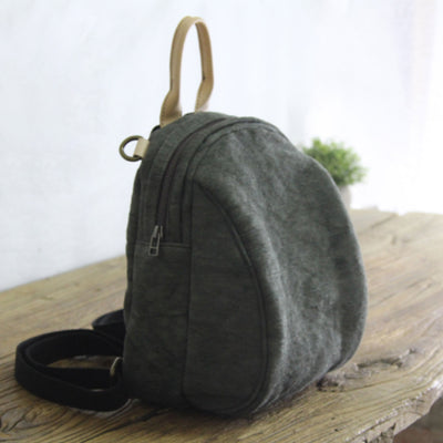 Women Solid Linen Small Casual Backpack