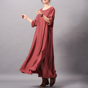 Women Solid Round Neck Casual Dress