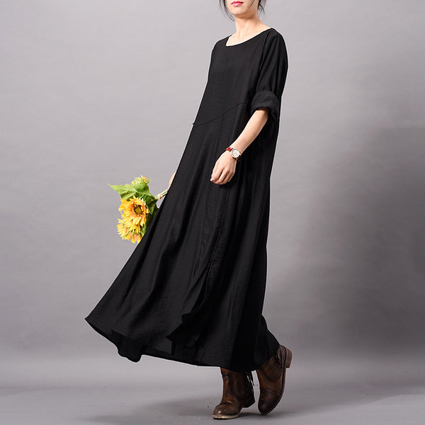 Women Solid Spun Silk Dress