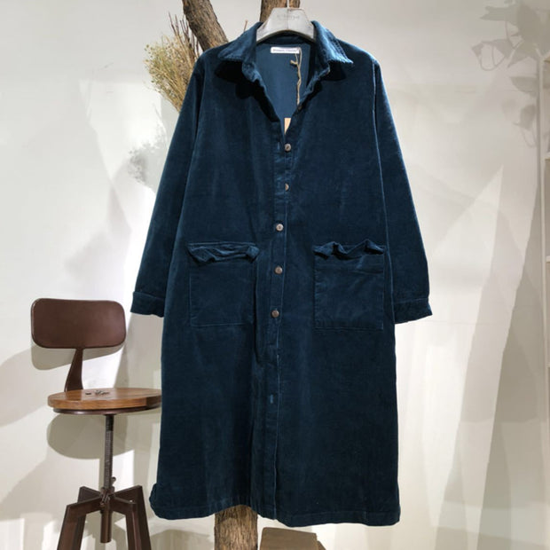 Women Solid Vintage Corduroy Pockets Long Coat
