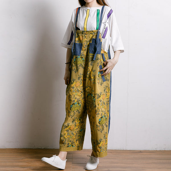Women Spliced Plant Printed Loose Jumpsuit