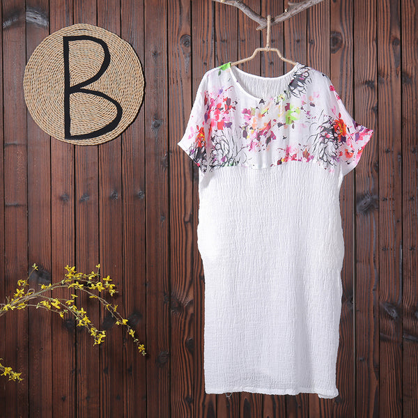 Women Splicing Printing Floral Linen Summer Dress